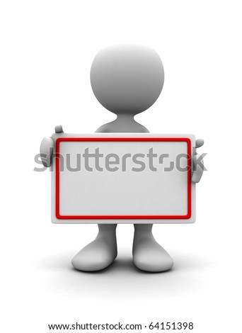 3d human with blank card. 3d illustration - stock photo
