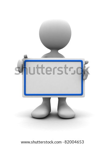 3d human with blank card. 3d illustration