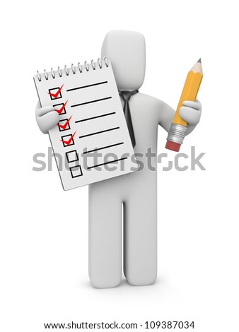 3d human with checklist and pencil