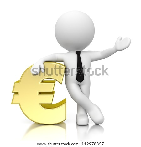 3d human with euro icon isolated on white background