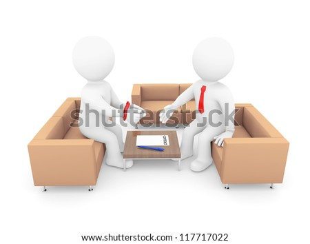 3d human with his hands tied signing a contract. Isolated on white background