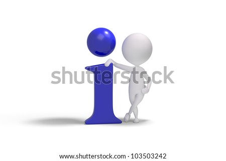 3d human with info icon on white background