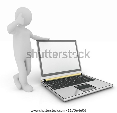 3d human with laptop isolated on white background