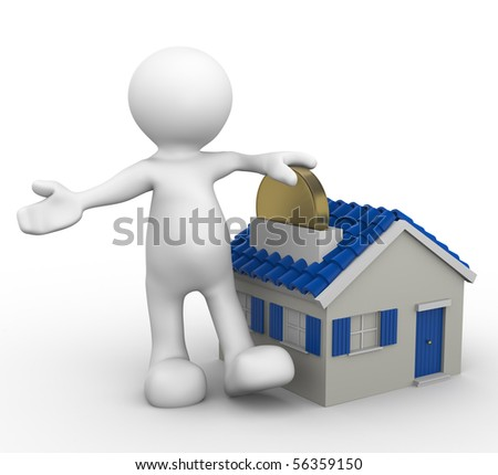 3d human with moneybox house