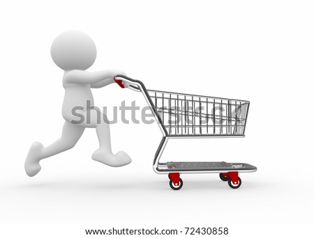 3d human with shopping cart - 3d render illustration