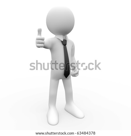 3d human with the thumb up sign of approval and ok