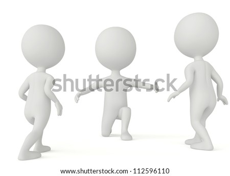 3d humanoid character - children goes to father on white