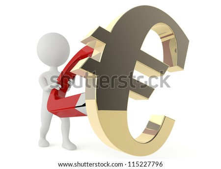 3d humanoid character hold a horseshoe magnet and a euro symbol