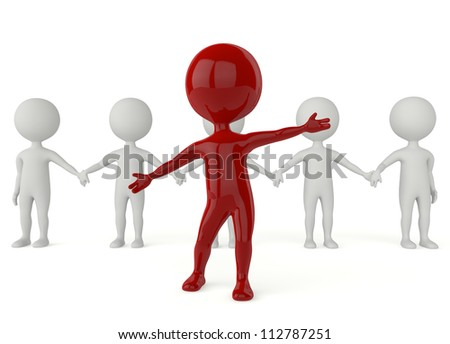 3d humanoid character leadership and team concept on white background