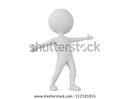 3d humanoid character make a welcome pose on white - stock photo