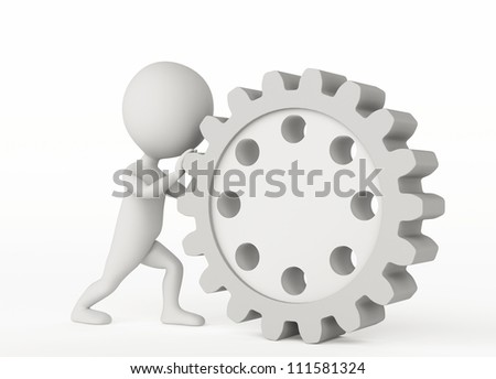 3d humanoid character pushes a gear wheel