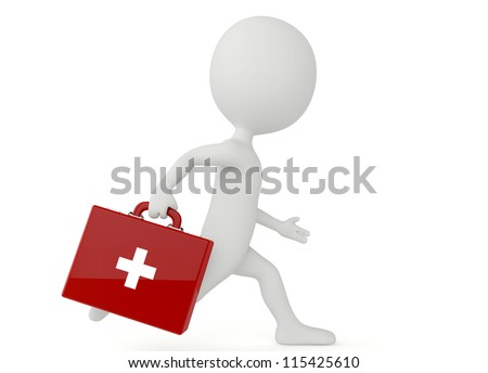 3d humanoid character with a first aid kit on white