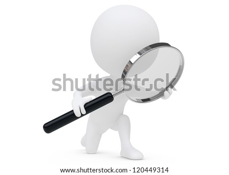 3d humanoid character with a magnifier on white