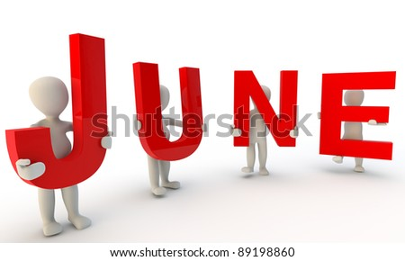 3D humans forming red word June made from 3d rendered letters isolated on white