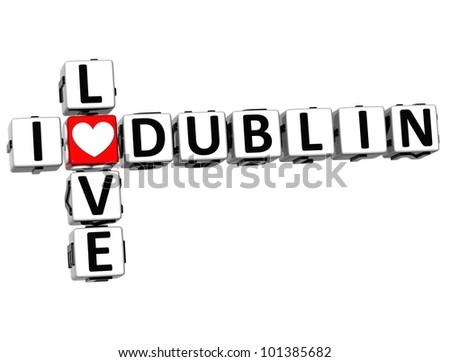 3D I Love Dublin Crossword Block text on white background