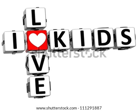 3D I Love Kids Crossword on white background