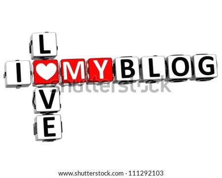 3D I Love My Blog Crossword on white background