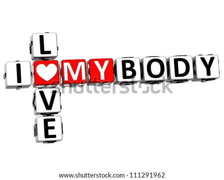 3D I Love My Body Crossword on white background