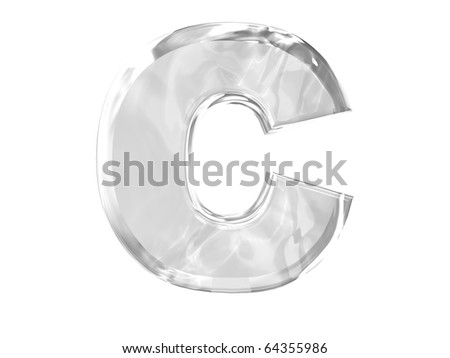 3D ice alphabetic letter C, isolated on a white background