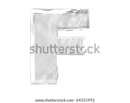 3D ice alphabetic letter F, isolated on a white background