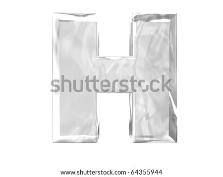 3D ice alphabetic letter H, isolated on a white background