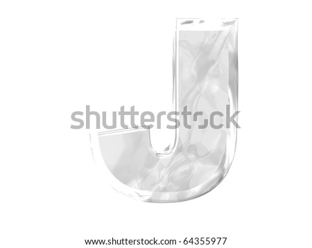 3D ice alphabetic letter J, isolated on a white background