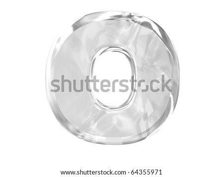 3D ice alphabetic letter O, isolated on a white background