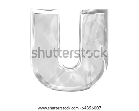 3D ice alphabetic letter U, isolated on a white background
