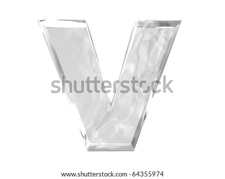 3D ice alphabetic letter V, isolated on a white background