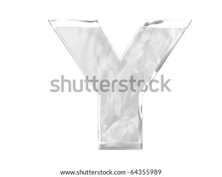 3D ice alphabetic letter Y, isolated on a white background