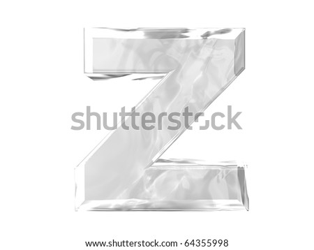 3D ice alphabetic letter Z, isolated on a white background