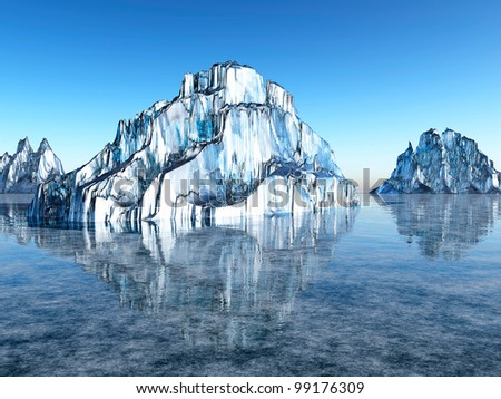 3d Ice desert - stock photo