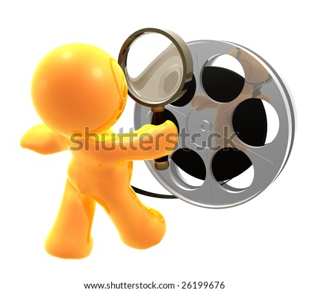 3D icon figure censoring a movie reel roll