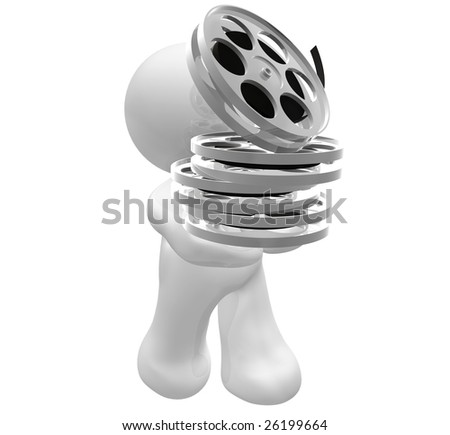 3D icon figure holding a movie reel rolls