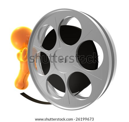 3D icon figure pushing a film reel roll