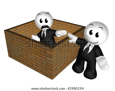 3d icon figure trapped inside brick