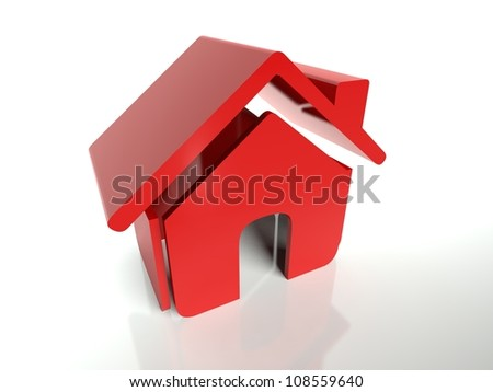 3d icon red house symbol