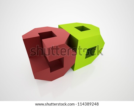 3D icon with 3D font isolated