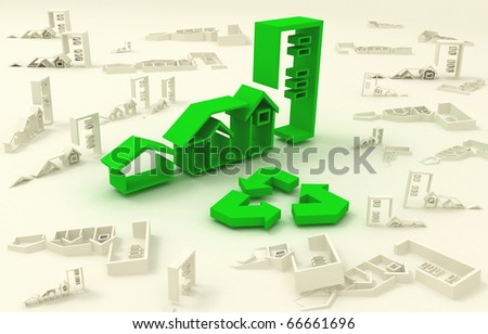 3d icons green houses