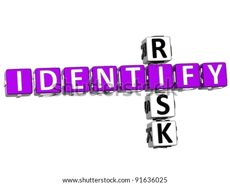 3D Identify Risk Crossword over white background