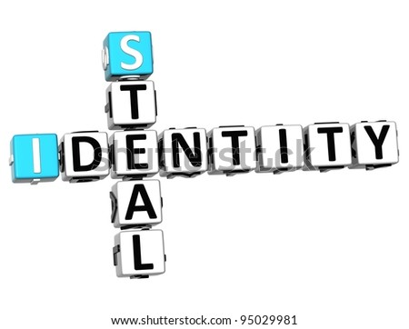 3D Identity Steal Crossword on white background - stock photo