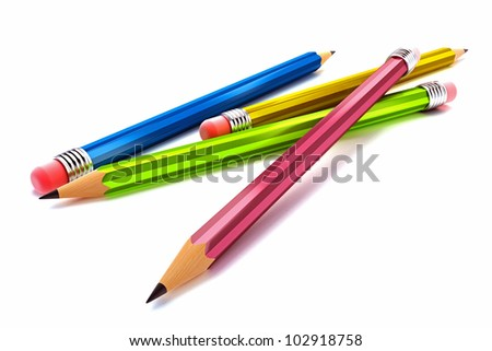 3d iillustration of colorful pencil against white background