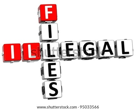 3D Illegal Files Crossword on white background