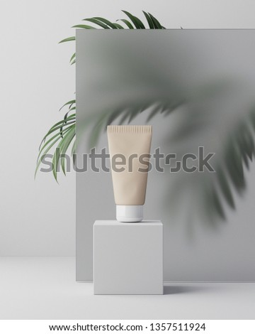 3d illustartion. Herbal dermatology cosmetic hygienic cream skincare product in plastic jar on glass clean background with palm leaves in bathroom