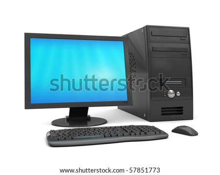 3d illustrat5ion of modern black color computer, over white background