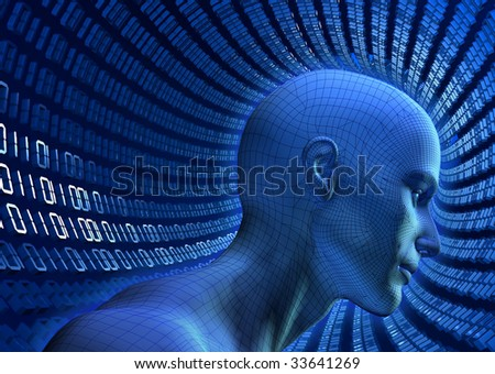 3D illustrated wiref-frame human head in a virtual, binary cyberspace tube