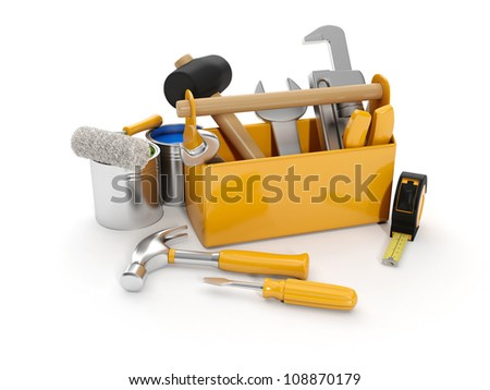 3d illustration: A group of construction tools on a white background