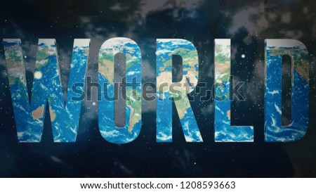 3D illustration about world. 3D text of World on earth map background.   stock photo