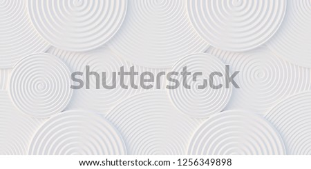 3d illustration. Abstract background. Spiral-shaped volumetric, white circles, of different sizes at different levels with a shadow.3D panel. Futuristic background.3D illustration.Render.gypsum panel