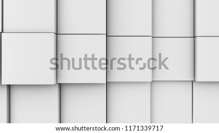 Stock Photo 3d illustration, abstract background, volumetric undulating movement of cubes densely adjacent to each other